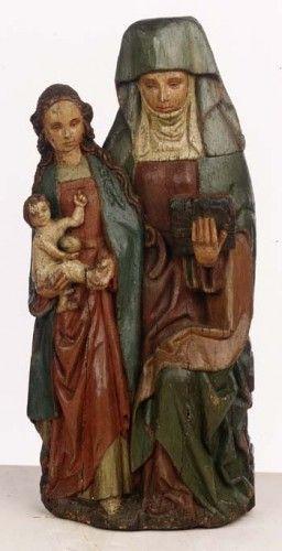 Anna-trinitaire , partie nord-Duché de Brabant vers 1510,  chêne polychrome, 40 cm  originaires de Megen
