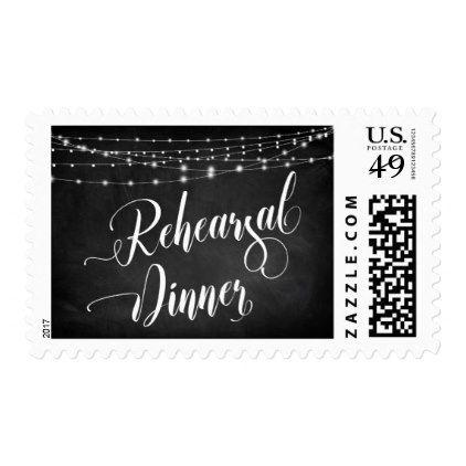 Chalkboard Script Light Strings Rehearsal Dinner Postage - string lights gifts ideas cyo personalize
