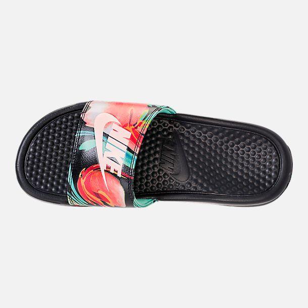 obesidad más Año Nuevo Lunar  Top view of Women's Nike Benassi JDI Print Slide Sandals in Green  Glow/Crimson Tint/Green Glow | Womens shoes high heels, Shoes, Nike shoes  women