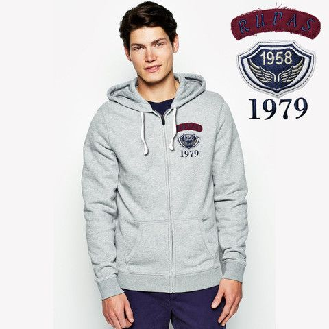 """Men's """"Rupas""""Fashion Zipper Hoodie With Left Chest Aplic Embriodery-Grey"""