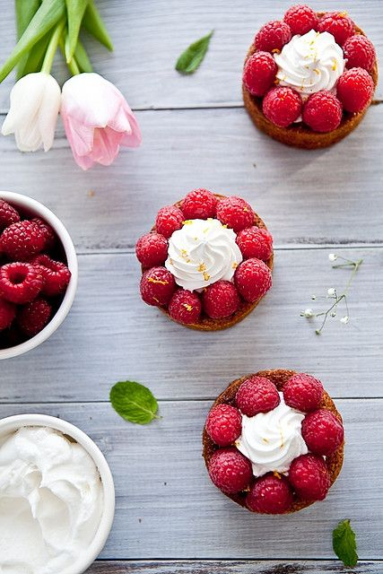Raspberry Pistachio Frangipane Tarts with Meyer Lemon Chantilly: I bet saying the name is WAY harder than simply making the tarts.