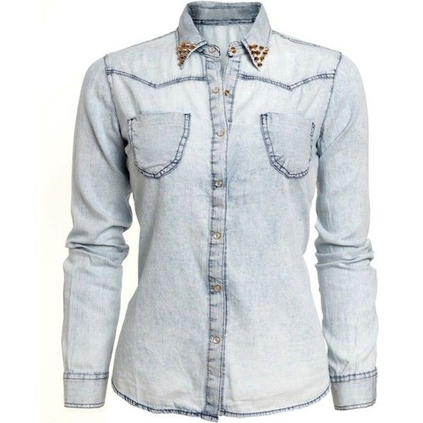 MUSTHAVE Gebleekte denim blouse met gouden studs ❤ liked on Polyvore featuring tops, shirts, blouses and jackets