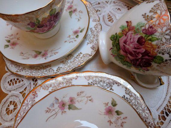 English Rose Tea Trio ~ Ashley Teacup Trio, Victorian Rose & Gold Embellishments, Mismatched English Bone China