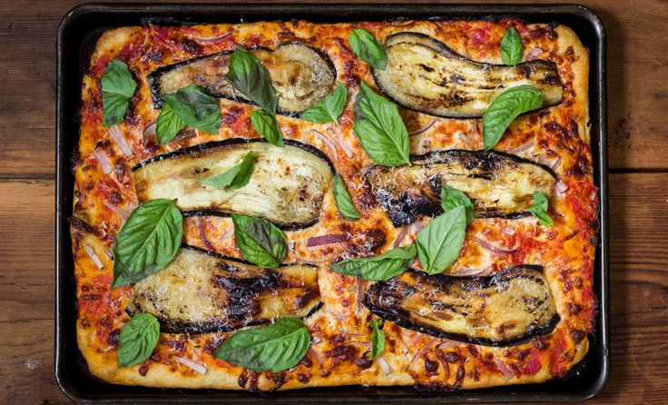 Sicilian Pizza with Eggplant ~ A classic Sicilian-style pan pizza with seared eggplant, red onions, and fresh basil.