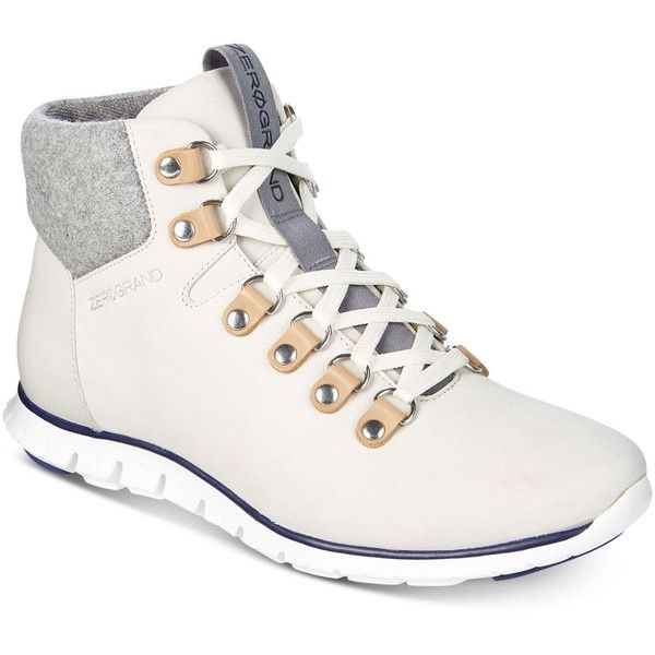 Cole Haan Women's Zerogrand Hiker Boots ($180) ❤ liked on Polyvore featuring shoes, boots, white, cole haan, cole haan boots, white boots, hiking boots and cole haan shoes
