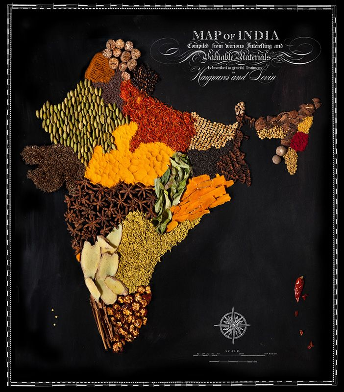 Beautiful Maps of Countries Made Out of Real Food - My Modern Metropolis INDIA- Spices - Photographer Henry Hargreaves and food stylist Caitlin Levin