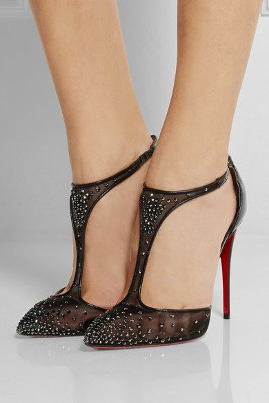Heel measures approximately 100mm/ 4 inches Black mesh and patent-leather  Buckle-fastening ankle strap