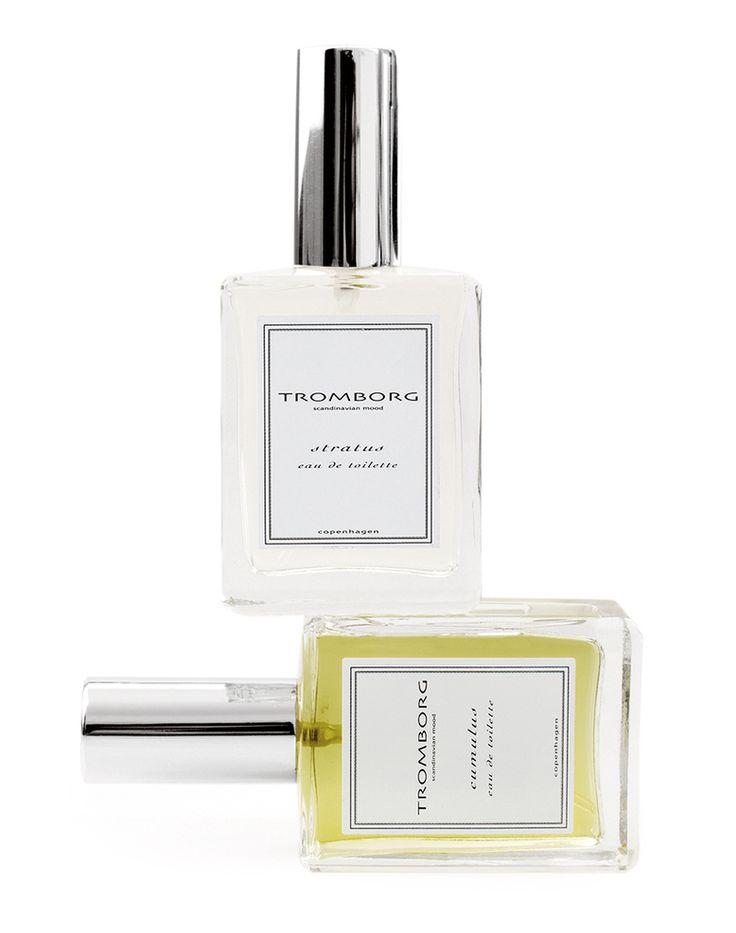 Tromborg Eau De Toilettes ~ Stratus & Cumulus: Stratus clouds are the white & light cloudy veil which makes the smell of rain so beautiful; notes are Verbena, Bitter Orange, Rosewood, Vanilla & Patchouli. Inspired by soft, downy Cumulus clouds in the Scandinavian sky. Notes of Bergamot with a hint of vanilla.