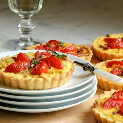 Corn Tarts with Tomatoes, Bacon, and Goat Cheese | Recipe