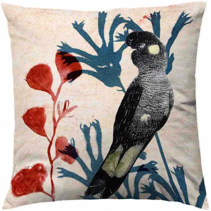 Designer Cushion Cover: Lone Black Cockatoo
