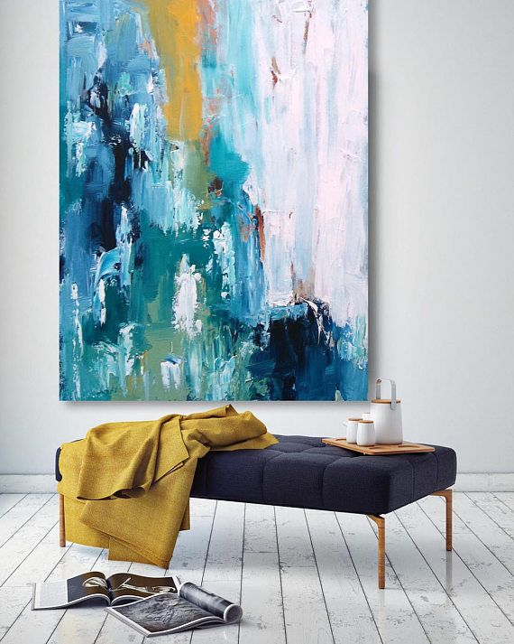 Textured Large Abstract Painting, Acrylic Painting on Canvas. Extra Large Painting – Wall Art, Modern Texture bright Yellow, Blue, White