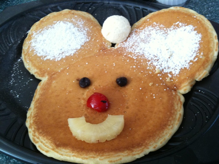 This will put a smile on your face in the morning! Mickey Mouse Pancake at the River Belle Restaurant, Disneyland