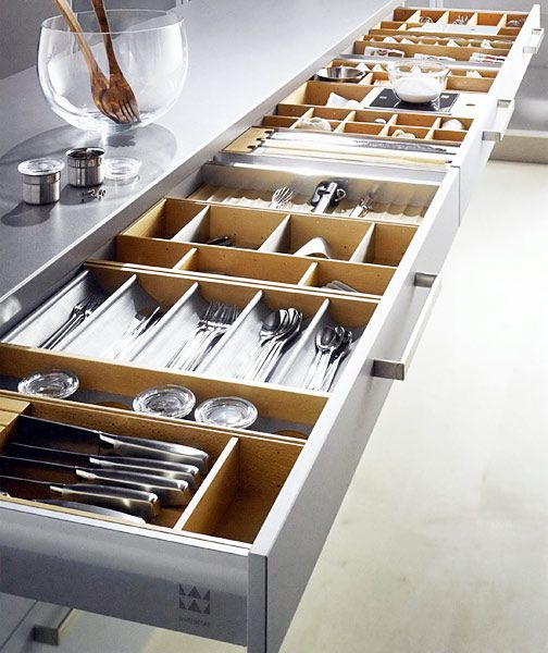 Lots and lots of drawers oh my! The dividers are perfect for all sorts of kitchen utensils. Efficient use of island space. Countertop storage