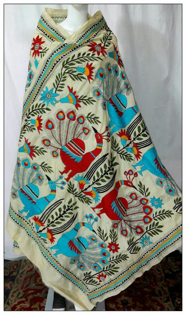Kantha embroidery on Tussar silk