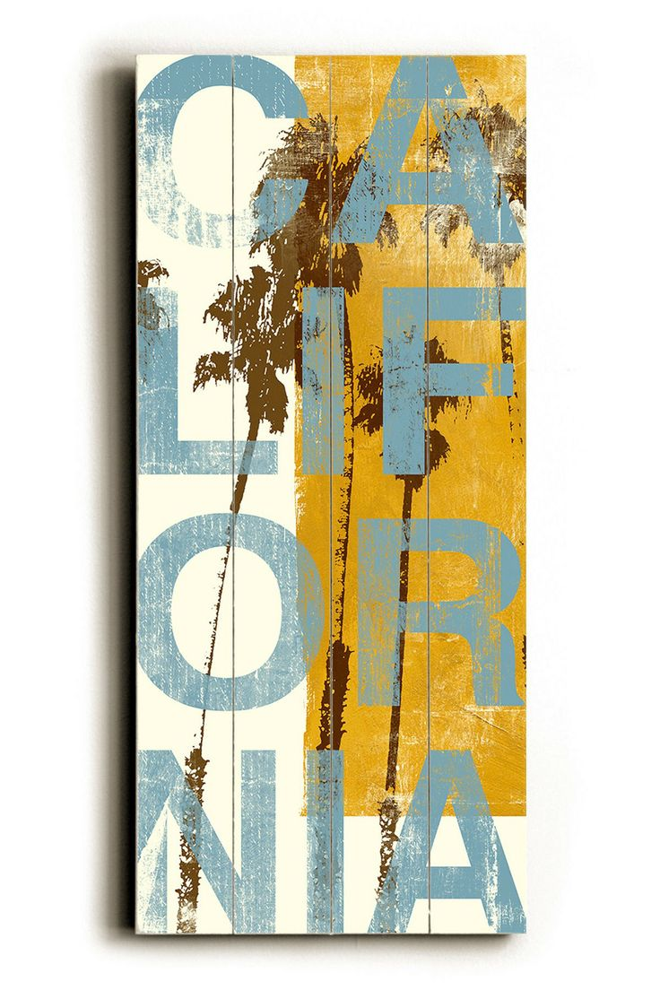 A U.S. State Of Mind - California Yellow Wood Wall Plaque