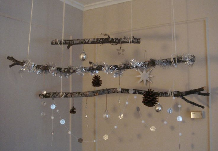 "Winter Wonderland - hanging branches centrepiece from plate & paper ("",)"