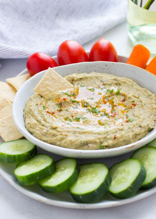 This Easy Roasted Eggplant Dip is made with the delicious flavors of cumin, lemon and mint. Perfect to serve for guests as a unique appetizer! (vegan + gluten-free)