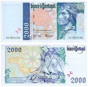 2000 escudos Bartolomeu Dias (versão 2) Notas de 2.000$00 (dois mil escudos… ou dois contos)