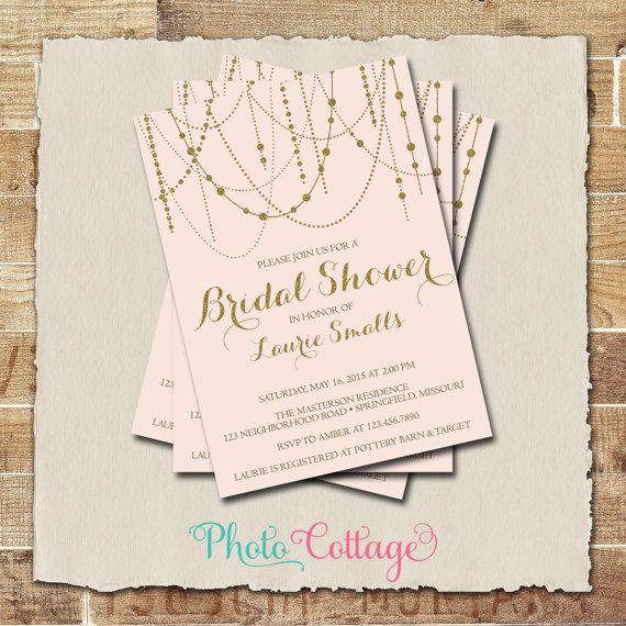 Bridal Shower Invitation Gold Glitter Invitation by PhotoCottage