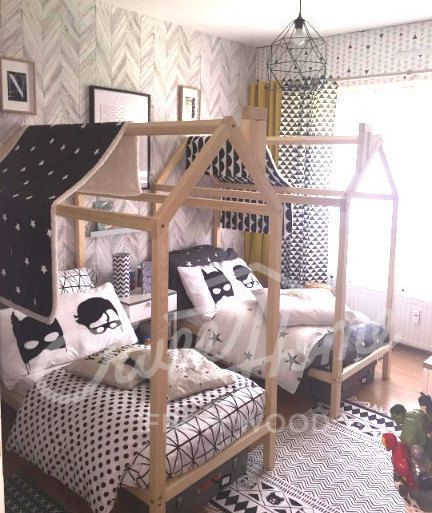 Children bed, solid wood bed, toddler bed, frame bed, waldorf home bed, teepee, play tent, baby room nursery, montessori toy