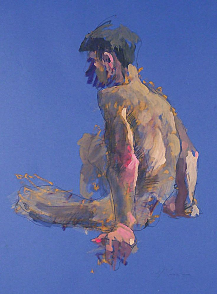 Alan McGowan, seated discreet nude male back, oil and pastel on paper expressionist drawing. alanmcgowan.com