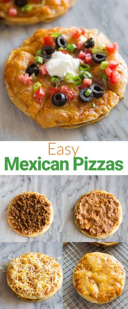 Una ricetta di pizze messicane con carne macinata, fagioli fritti e altri condimenti sabbia …