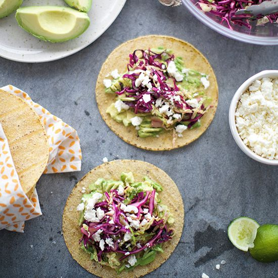 Fresh Cabbage and Avocado Tacos with Queso Fresco | Using a mix of red ...