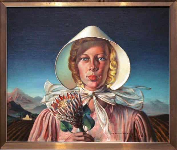 Die koning van 'goeie' *kitsch | Vladimir Tretchikoff.  Painting of what I can only assume to be a Afrikaner woman holding a king Protea.