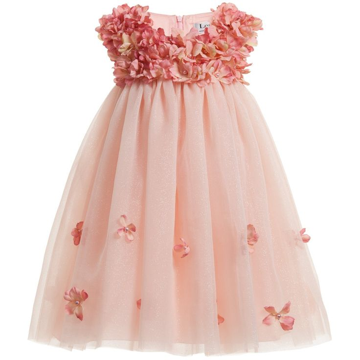 Lesy Pink Silk Dress with Flower & Pearl Decoration at Childrensalon.com