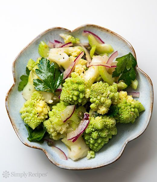 Romanesco Salad ~ Romanesco broccoli salad with steamed romanesco florets, red onions, celery, parsley, capers, marinated in vinaigrette ~ http://SimplyRecipes.com