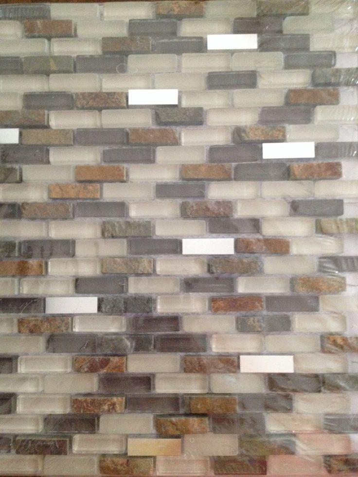 slate stainless steel mini bricks mesh mounted backsplash home depot