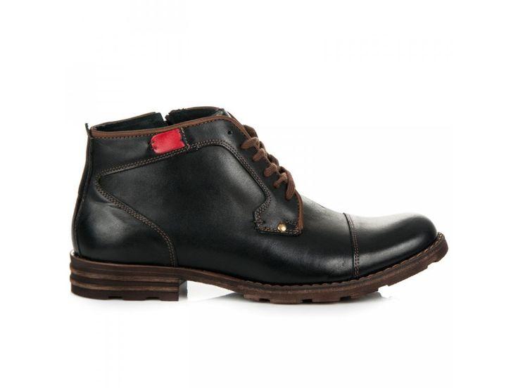 Čierne kožené topánky Slavo