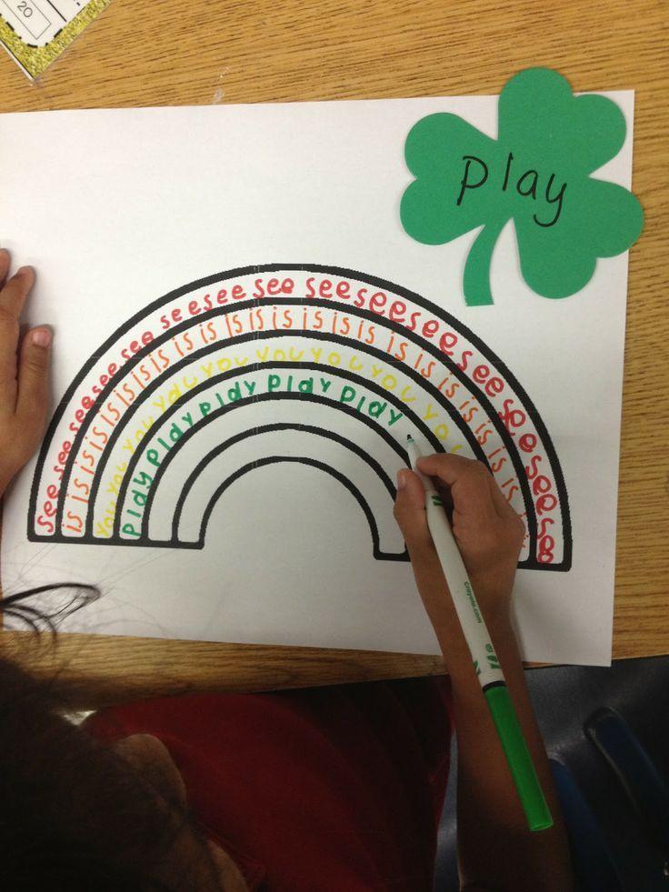 regenboog woordjes schrijven met stiften