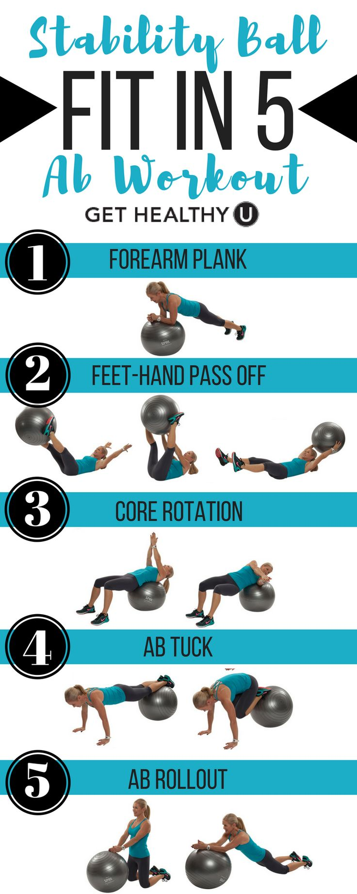 Fit in these 5 ab exercises to strengthen your core, and back using a stability ball to blast belly fat. Start with 1 round and aim to increase to 3 for a svelte waistline and strong abs. Try our free exercise library for more weight, medicine ball, and body weight  workouts.