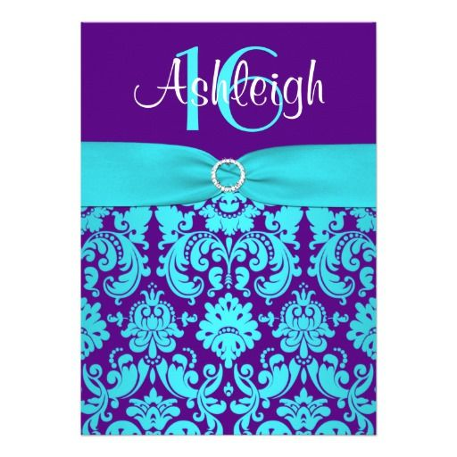PRINTED RIBBON Purple, Aqua 16th Birthday Invite