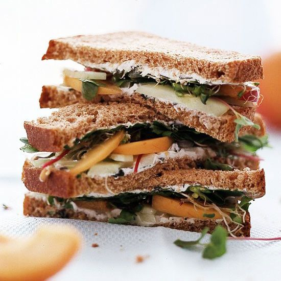 Cucumber and Apricot Sandwiches Cucumber, Basil, Nectarines, Arugula, Cream Cheese