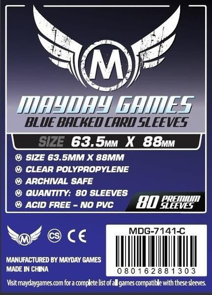 PREMIUM Mayday 63.5 x 88mm Blue Backed Card Sleeves (set of 80)