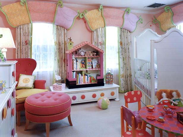 a beautiful small girly room. love the curtains and the storage cabinet and bookshelf. A small round table can serve multiple purposes e.g. can be used as a wirting table, for group fun activities, actual tea/lunch parties :)