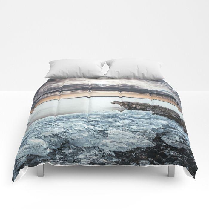 Frozen broken hearts Comforters by HappyMelvin  #nature #wanderlust #winter #ice #homedecor #comforters