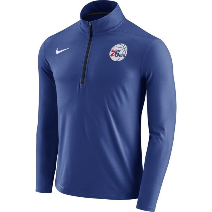 Nike Men's Philadelphia 76ers Dri-FIT Royal Element Half-Zip Pullover