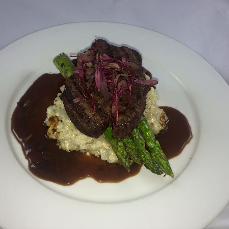 Grilled Filet Mignon, Smoked Blue Cheese & Bacon Risotto, Roasted ...