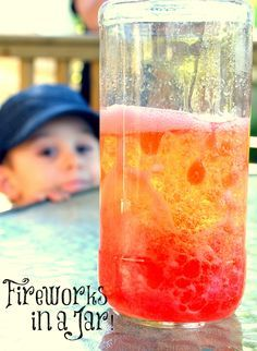 This fun chemistry activity for kids is a colourful, bubbly, streaming reaction that reminds me of mini explosions and so I've named it Fireworks in a Jar! Perfect for Canada Day, Victoria Day the Queen's Birthday or Memorial Day! {One Time Through}