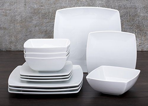 12 Piece Oxford White Square Dinner Set Waterside Fine China //. & The 13 best sam ryan images on Pinterest | Dishes Dinner plates and ...