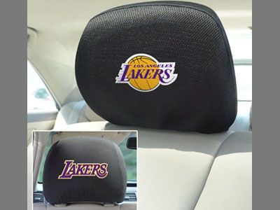 Los Angeles Lakers head rest cover from    sportsnutemporium.com