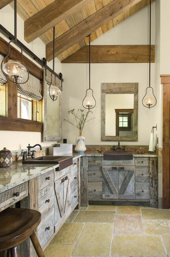 1 Kindesign S Top 25 Most Re Pinned Bathrooms Of 2015 Rusticbathrooms Farmhouse Style Kitchen Cabinets Rustic Kitchen Rustic Cabin Kitchens
