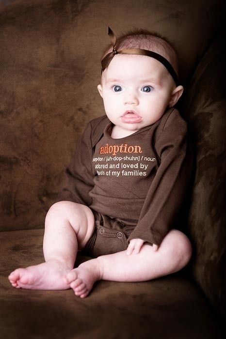6 To 12 Months Adoption Definition Chocolate Brown Long Sleeved Bodysuit,  Adoption Apparel, Adoption Gifts, Baby Shower Gifts