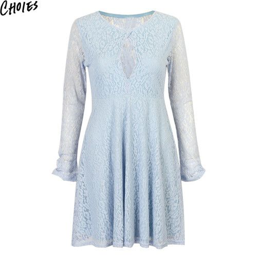 Women 3 Colors Cut Out Front Vintage Semi Sheer Lace Lined Elegant Skater Mini Dress New Sexy Long Sleeve Summer Dresses