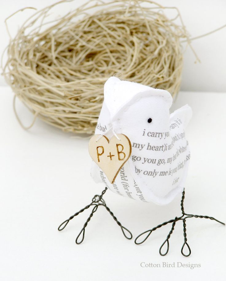 4th Wedding Anniversary Bird Poem In Linen Fabric With I Carry Your Heart Me