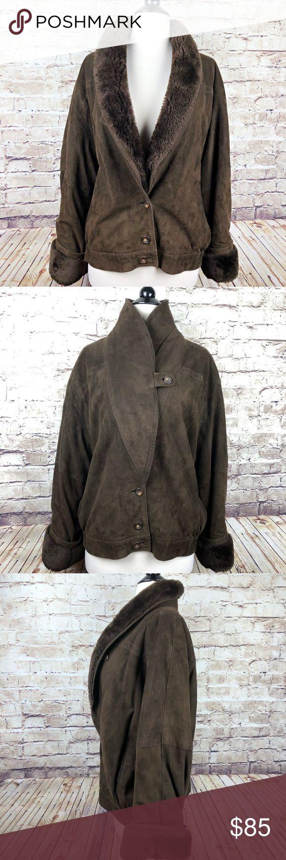 Vintage Jaeger Brown Suede + Fur Bomber Jacket Fur