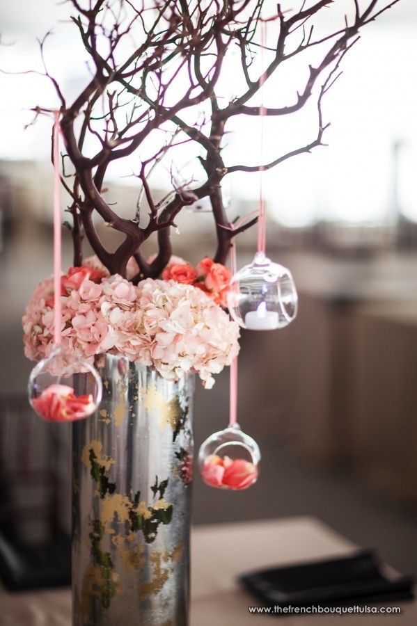 Rustic Chic Design With Tall Mercury Glass Vase With Pink